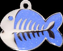 Dark Blue Sparkle Fish Pet Tag