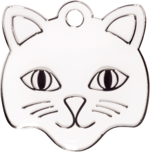 White Cat Face Pet Tag