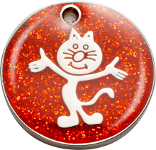 Red Glitter Cat Pet Tag