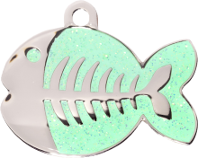 Green Sparkle Fish Pet Tag