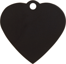 Aluminum Black Heart Pet Tag