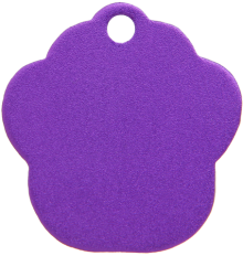 Aluminum Purple Paw Pet Tag