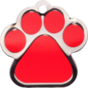 Red Large Paw Pet Tag