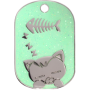 Green Sparkle Sleeping Cat Pet Tag