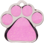 Pink Sparkle Small Paw Pet Tag