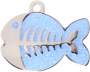 Light Blue Sparkle Fish Pet tag