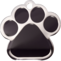 Black Large Paw Pet Tag