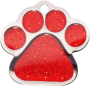 Red Sparkle Small Paw Pet Tag