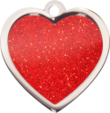 Red Sparkle Large Heart Pet Tag