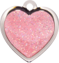 Pink Sparkle Small Heart Pet Tag