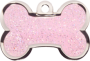 Light Pink Sparkle Small Bone Pet Tag