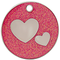 Pink Glitter Hearts Pet Tag