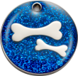 Blue Glitter Bones Pet Tag