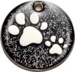 Black Glitter Paws Pet Tag