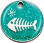 Aqua Glitter Fish Pet Tag