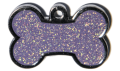 Purple Sparkle Small Bone Pet Tag