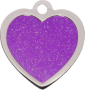Purple Sparkle Small Heart Pet Tag