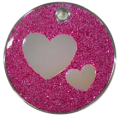 Purple Glitter Hearts Pet Tag