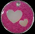 Purple Glitter Hearts Pet Tag