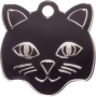 Black Cat Face Pet Tag