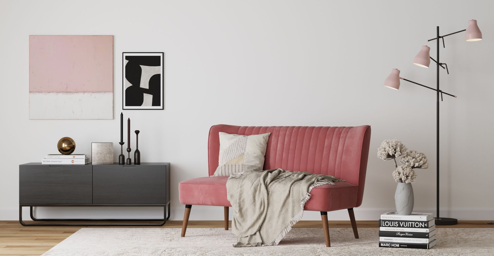 Brosa Hydra Floor Lamp styled in modern contemporary living room