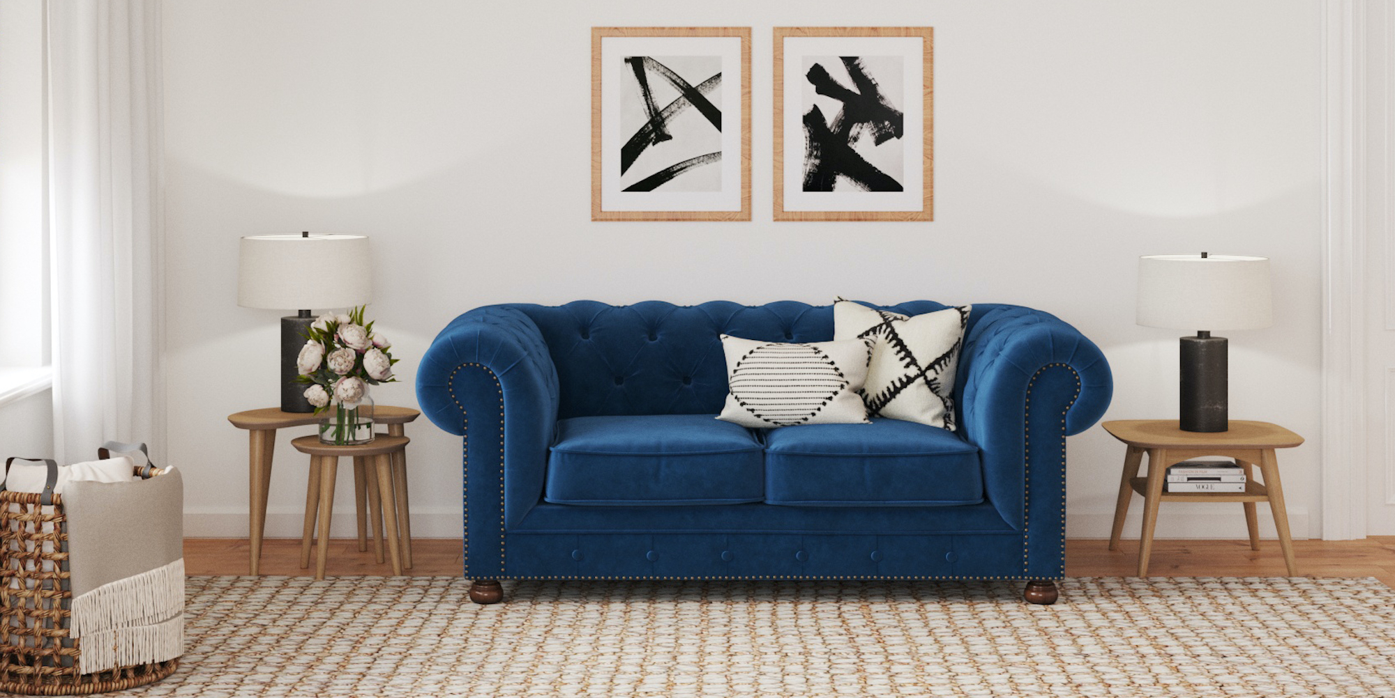 Brosa Notting Hill Velvet Chesterfield 2 Seater Sofa styled in classic traditional living room