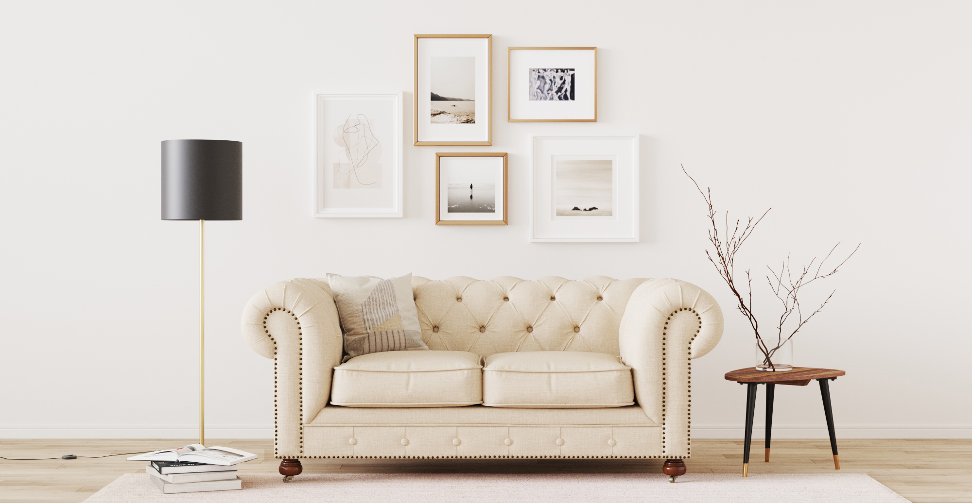 Brosa Camden Chesterfield 2 Seater Sofa styled in classic traditional living room