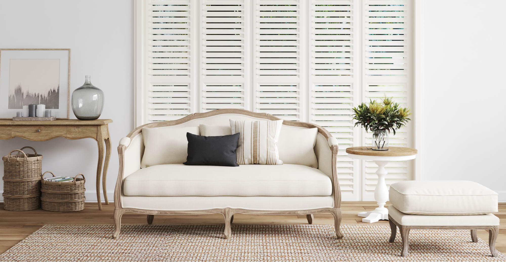 Brosa Provence 3 Seater Sofa styled in French Provincial living room