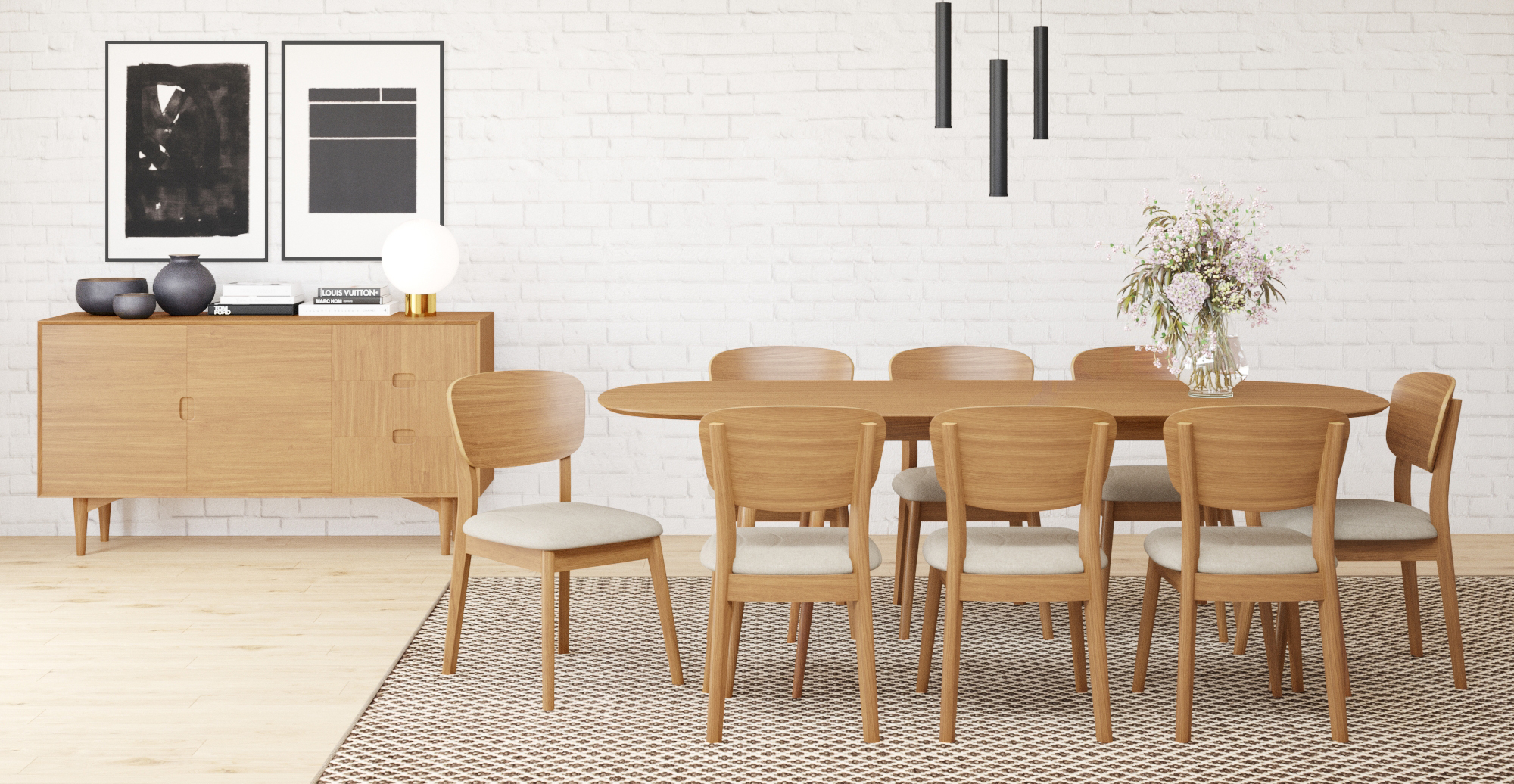 Brosa Mia Extendable Dining Table styled in Scandinavian dining room