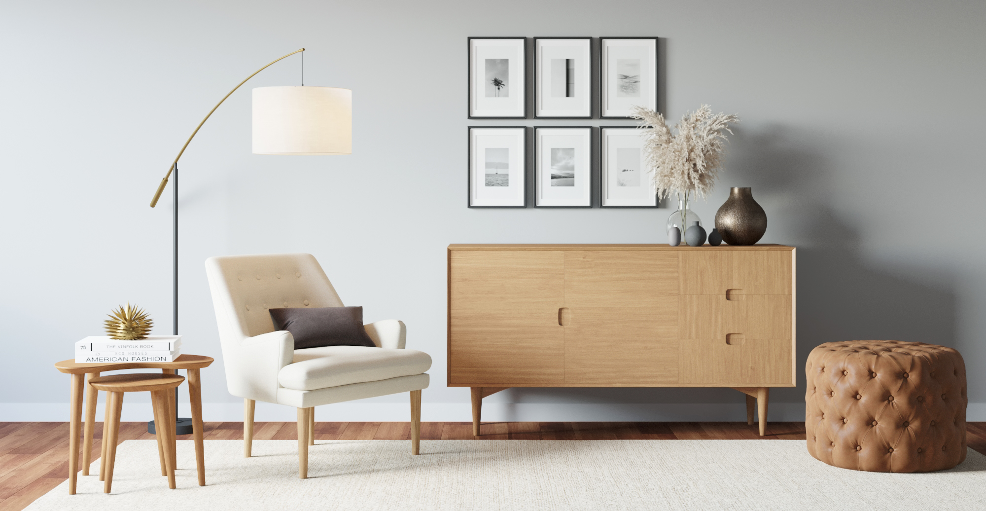 Brosa Mia Nest of Tables styled in Scandinavian living room