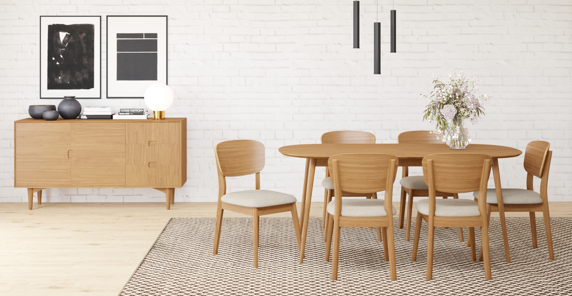 Brosa Mia Set of 2 Dining Chairs styled in Scandinavian dining room