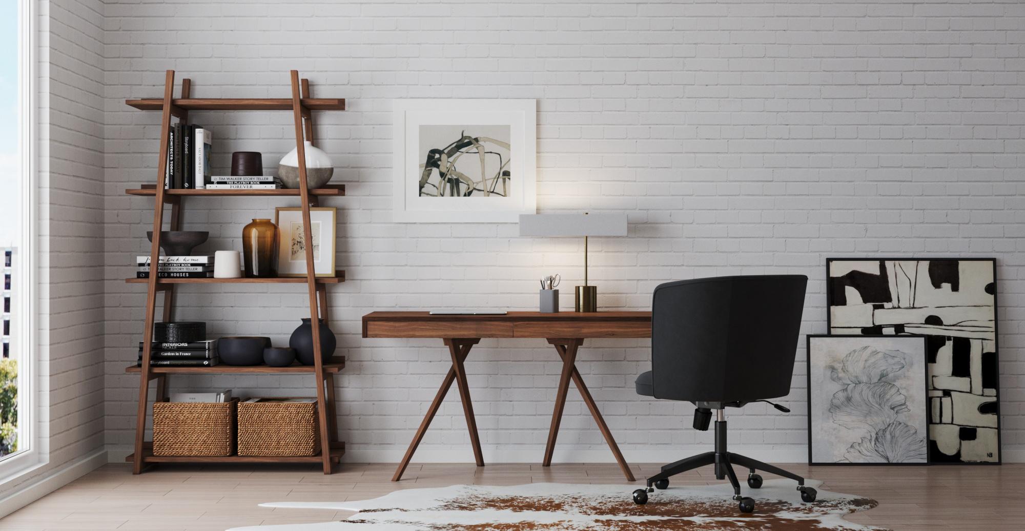 Lewes Shelf styled in Modern Contemporary home office