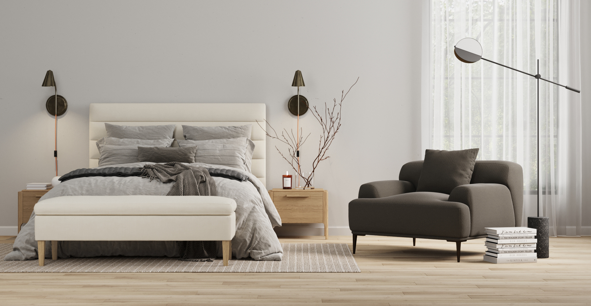 Eleanor King Size Bed Head styled in modern contemporary bedroom
