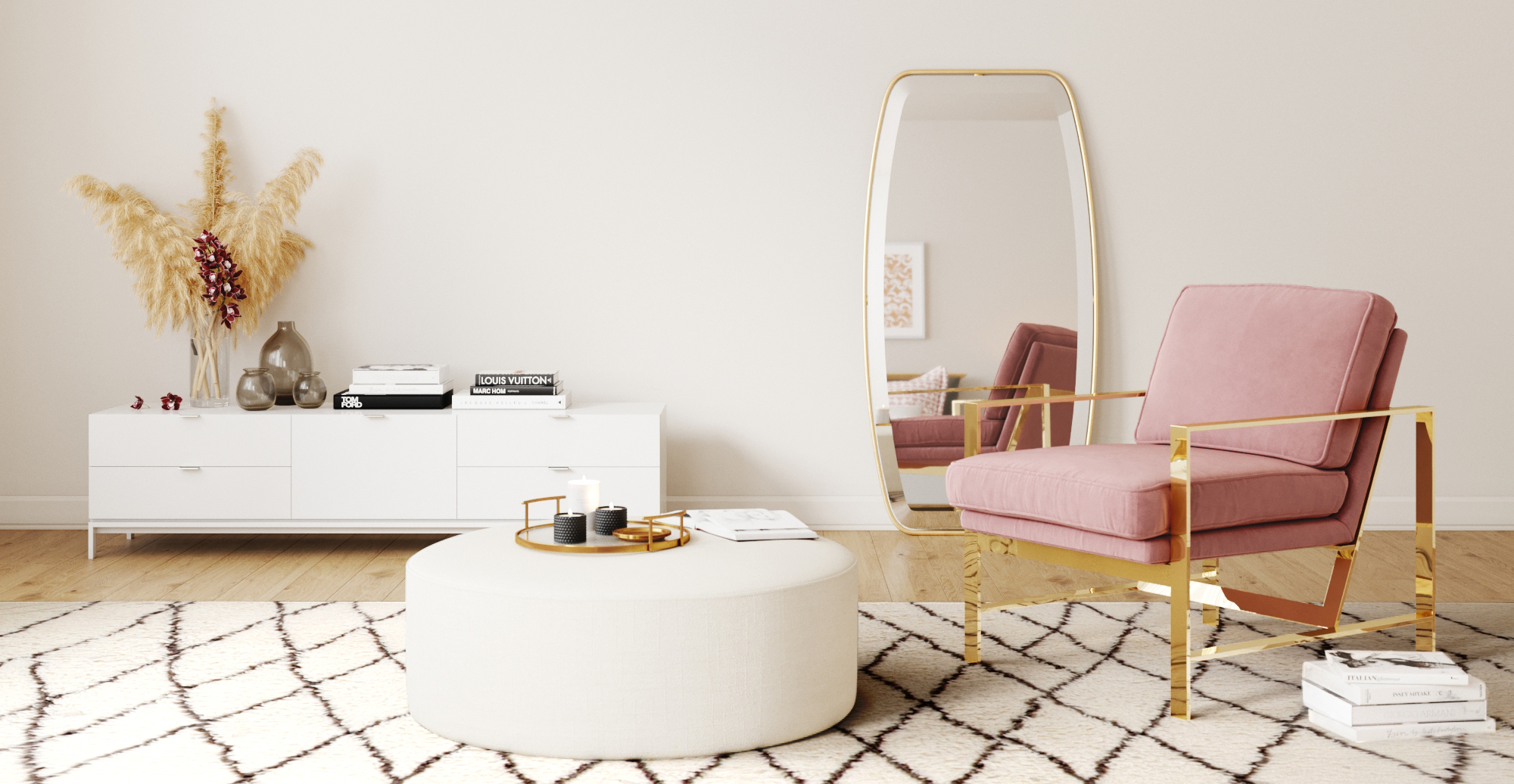 Brosa Alexa Large Round Ottoman styled in new Art Deco living room