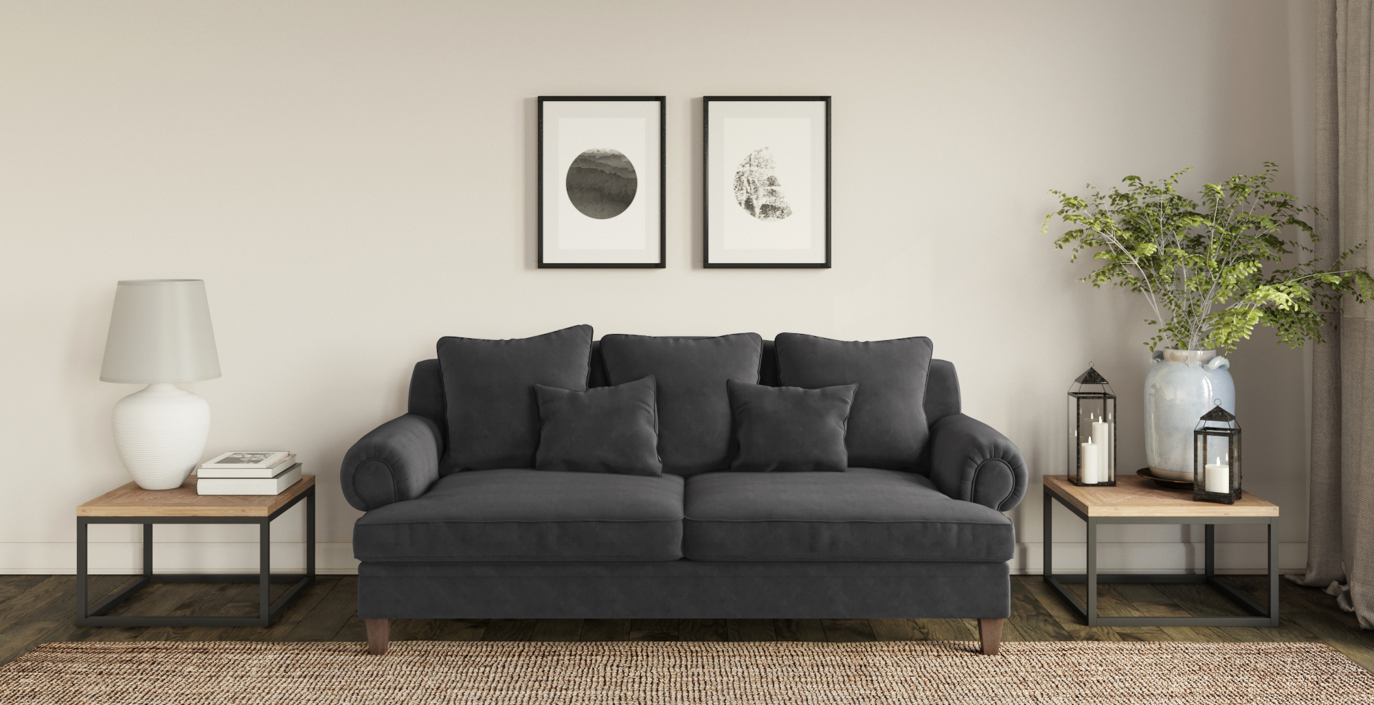 Brosa Mila 3 Seater Sofa styled in modern living room with natural rug