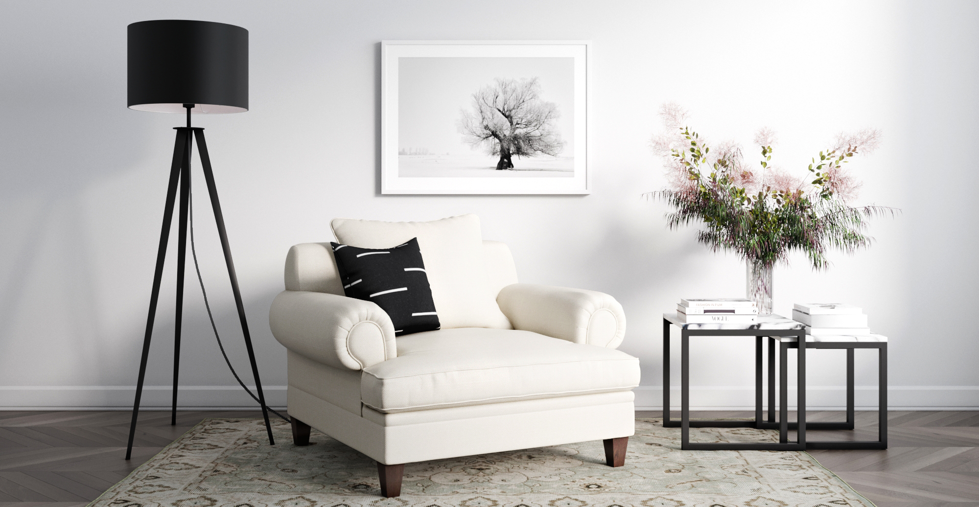 Brosa Mila Armchair styled in modern contemporary sitting room