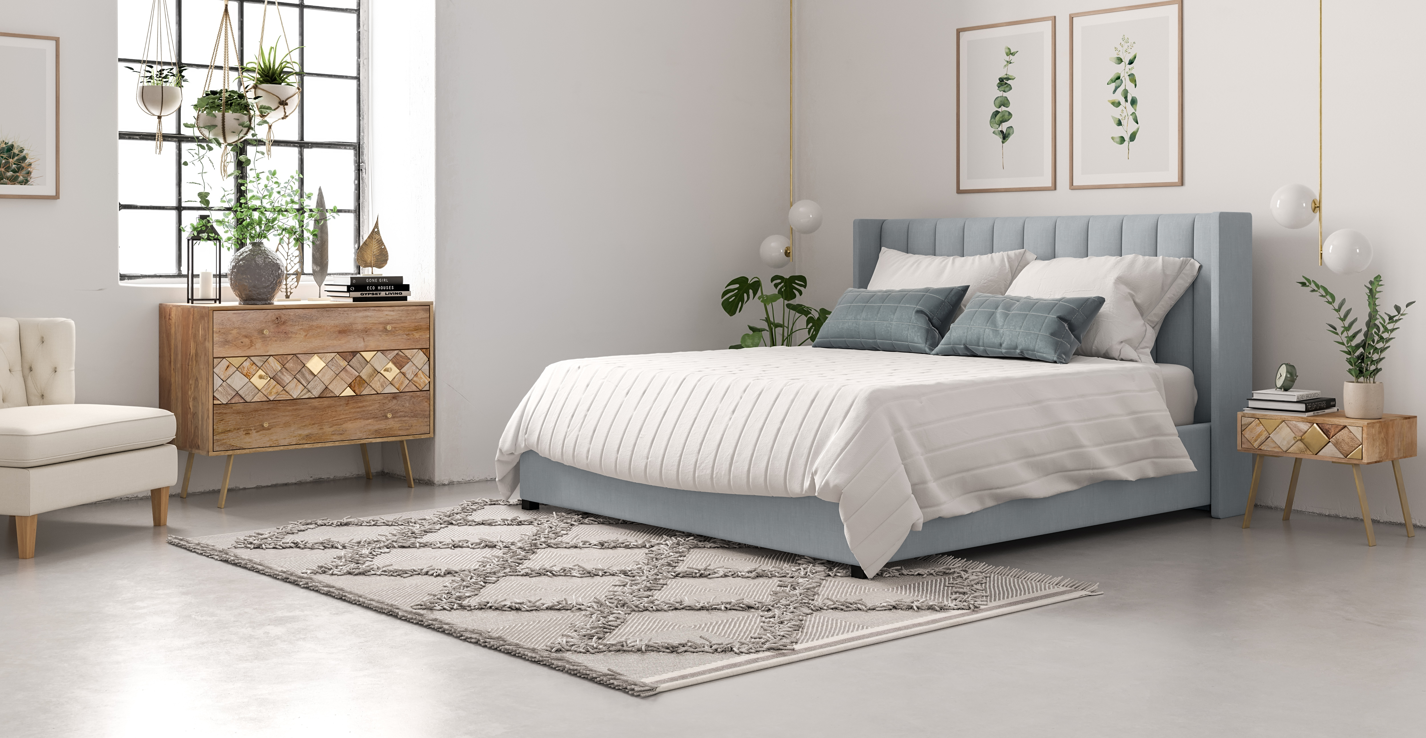 Isabella Queen Size Bed Head styled in classic traditional bedroom