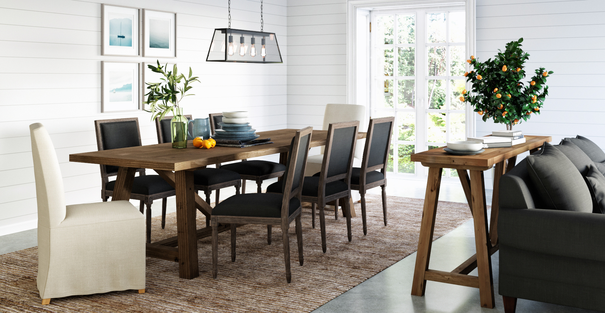Brosa Petit Fleur Dining Chairs and Grace Dining Chairs with Slip Cover styled in classic traditional dining room