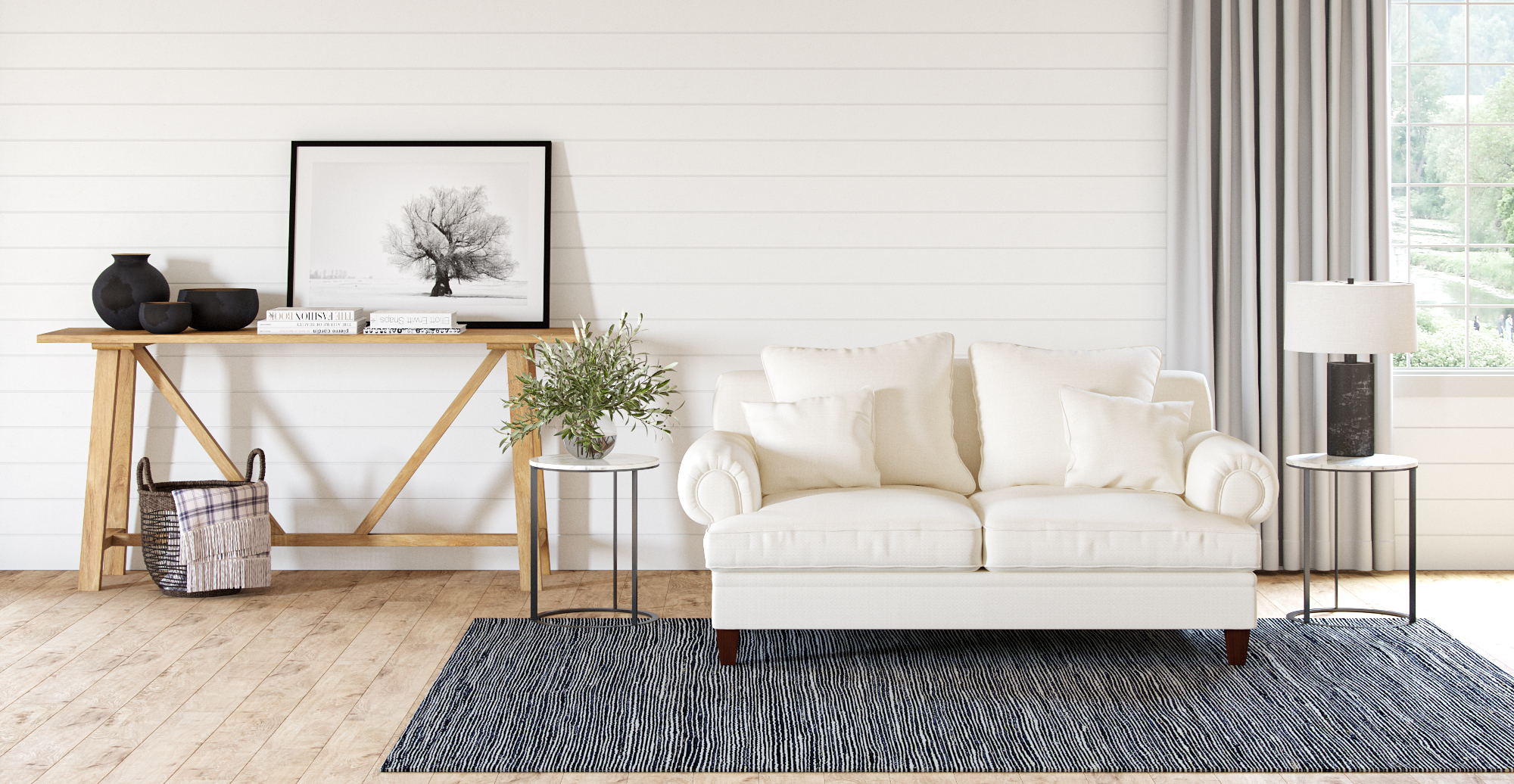 Brosa Huber Side Table styled in modern contemporary living room