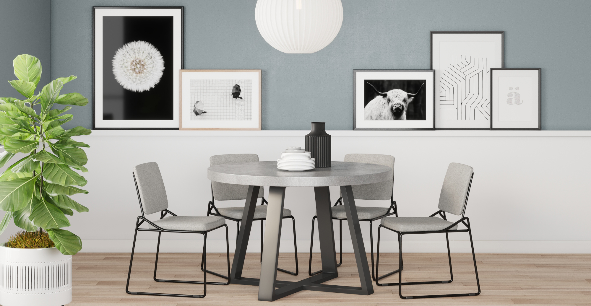 Brosa Glasser Set of 2 Dining Chairs styled in modern contemporary dining room