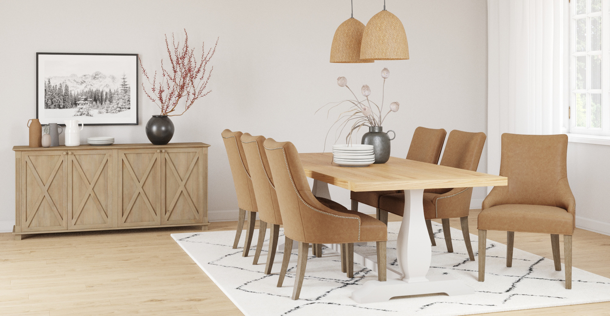 Brosa Zoe Leather Scoop Back Dining Chair styled in classic traditional dining room