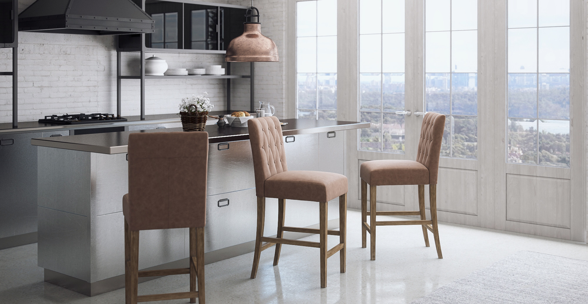 Brosa Espen® Leather Set of 2 Bar Stools styled in modern contemporary kitchen