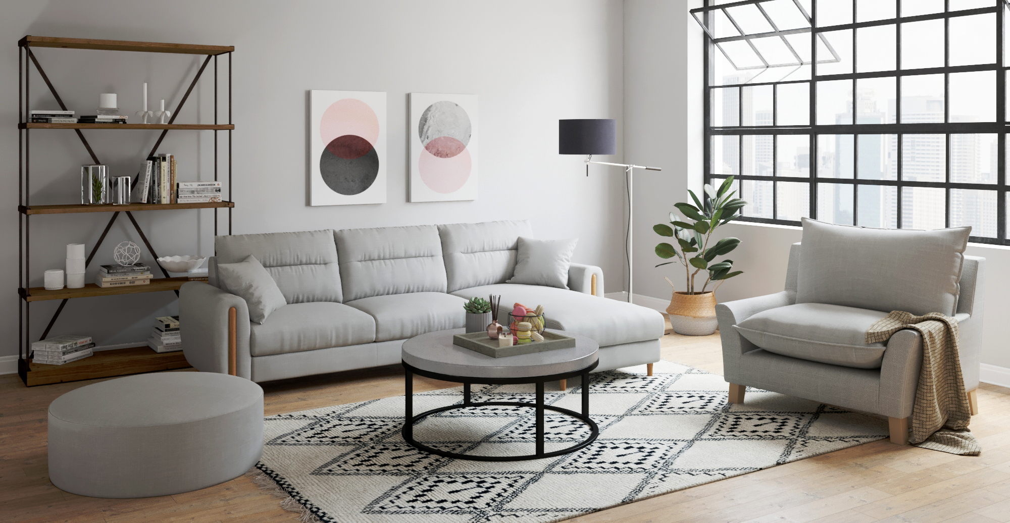Brosa Blake Indoor / Outdoor Coffee Table in modern contemporary living room