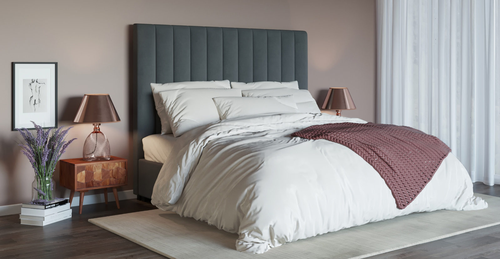 Brosa Megan Tall King Size Bed Head styled in classic bedroom