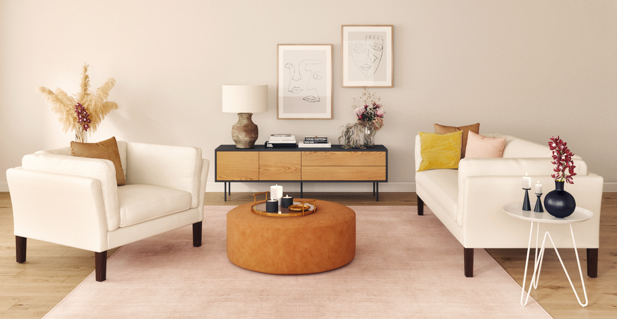 Brosa Alexa Large Leather Round Ottoman styled in mid century modern living room