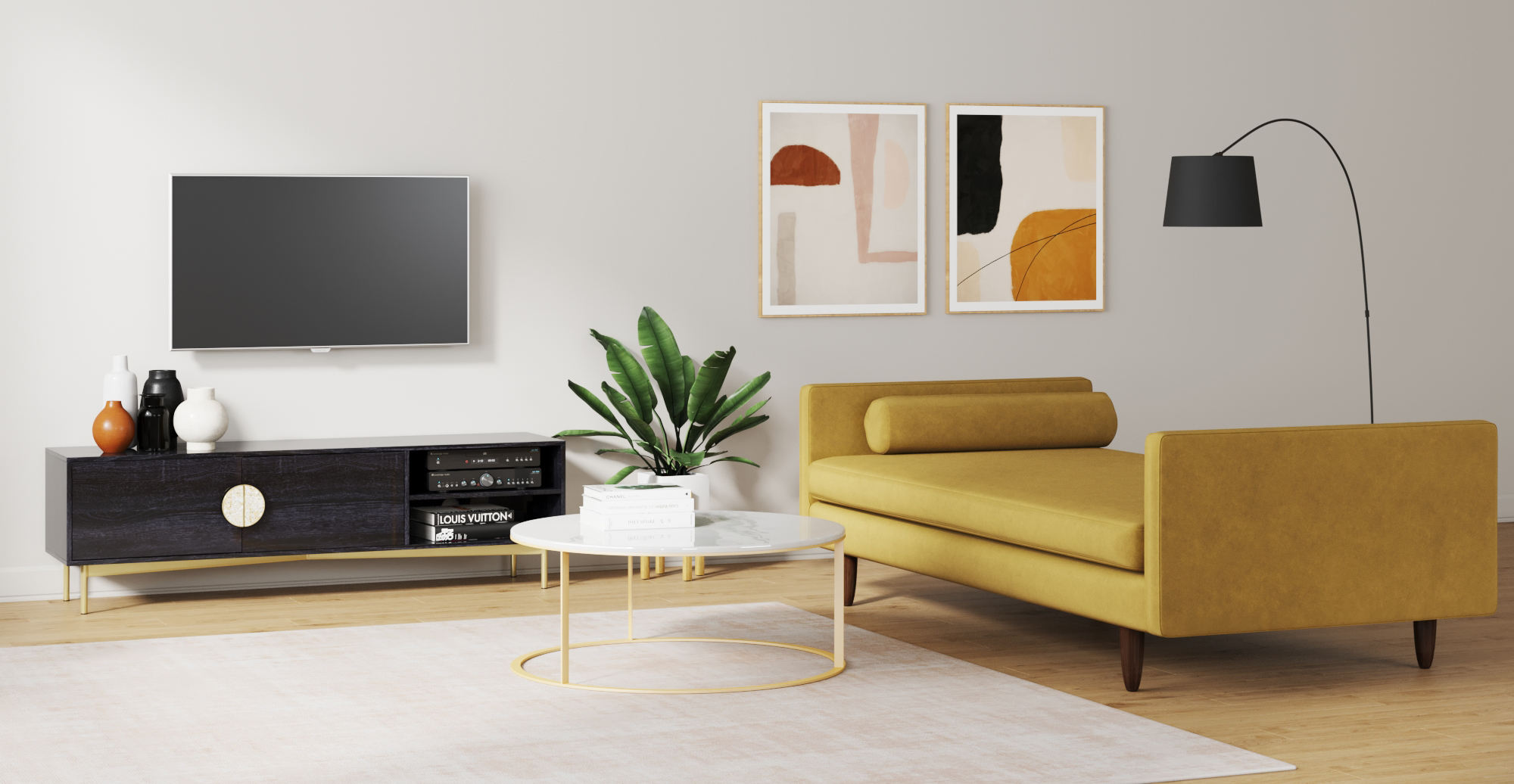 Brosa Monroe Daybed styled in modern contemporary living room