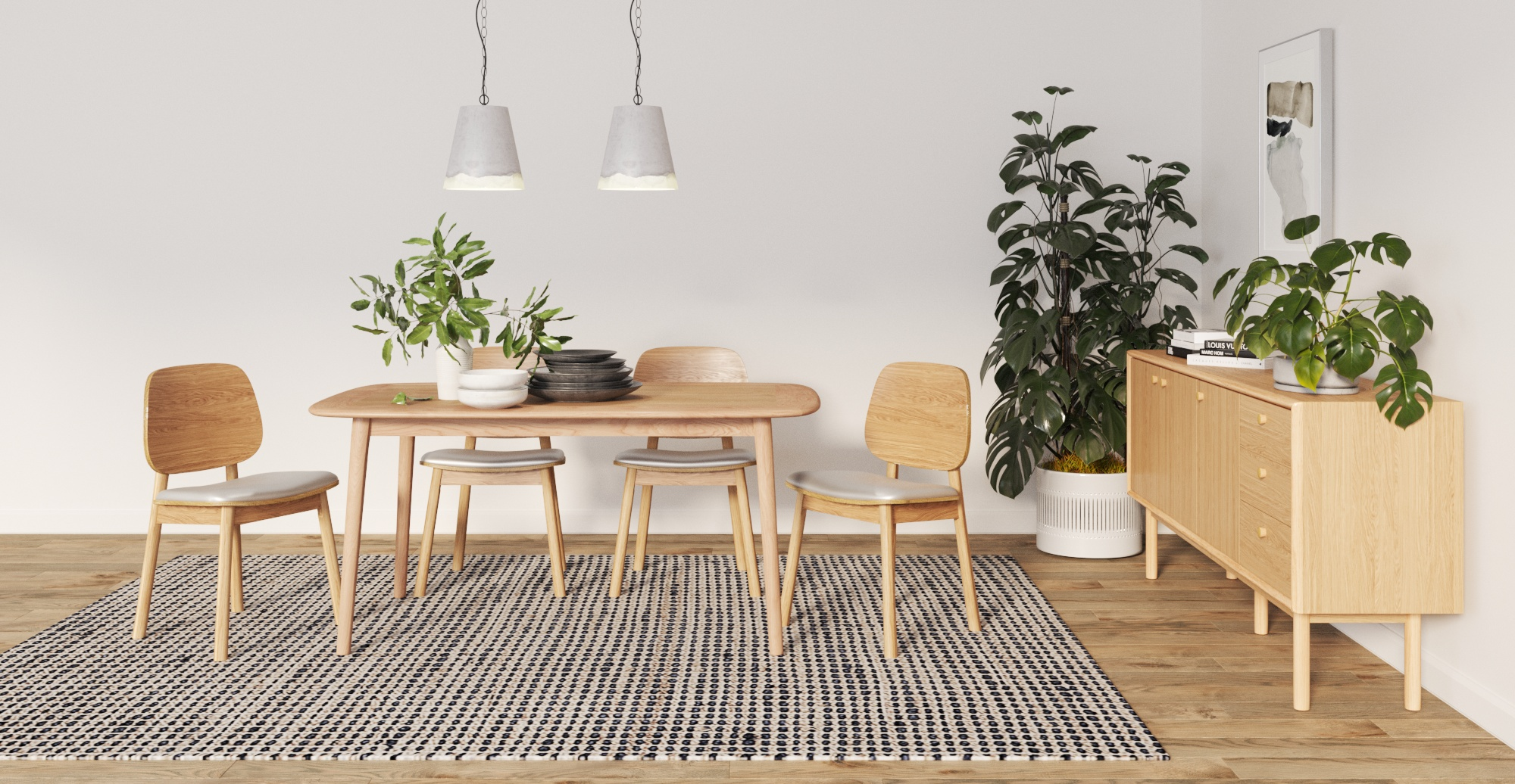 Brosa Kaneko Compact Dining Table 160cm styled in Scandinavian dining room