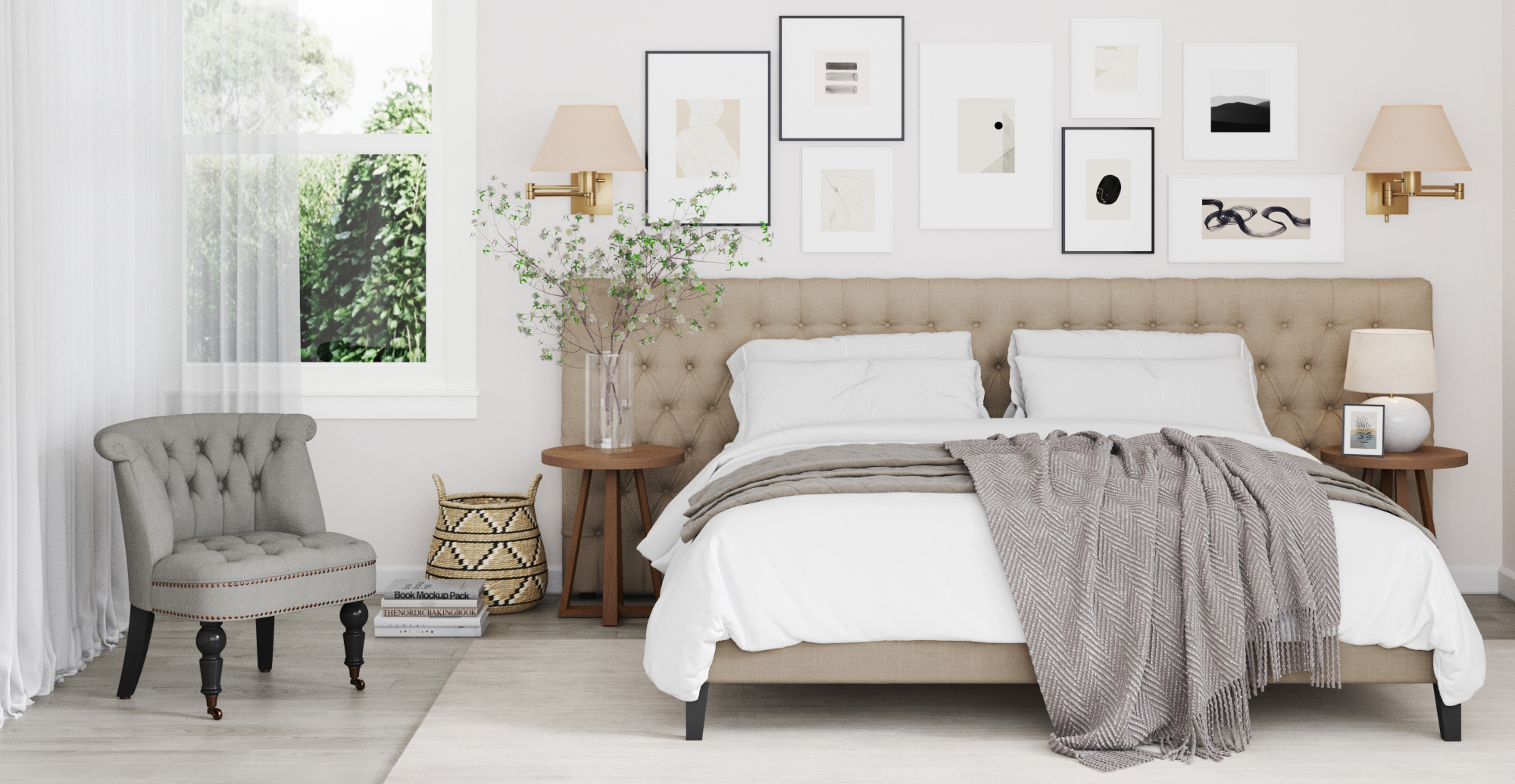 Brosa Emily Wide King Size Bed Head styled in classic traditional bedroom