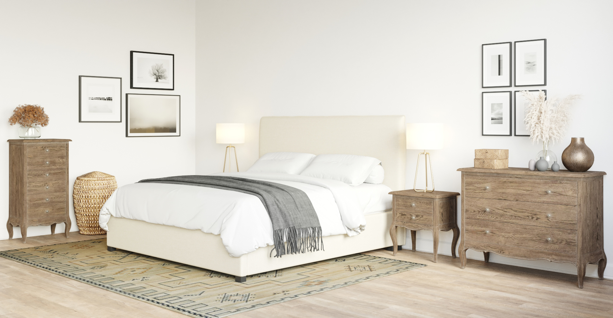 Brosa Sara Queen Gaslift Bed Frame styled in classic traditional bedroom