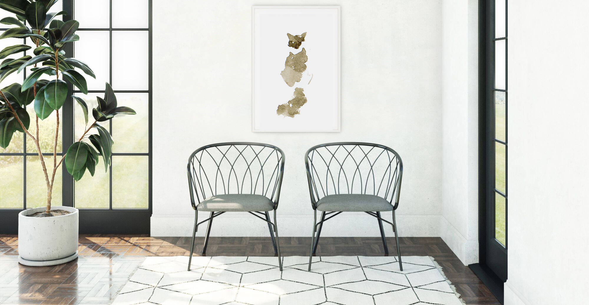 Brosa The Bronze Cat Print styled in modern entryway